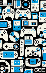 Black white and blue game controllers poster